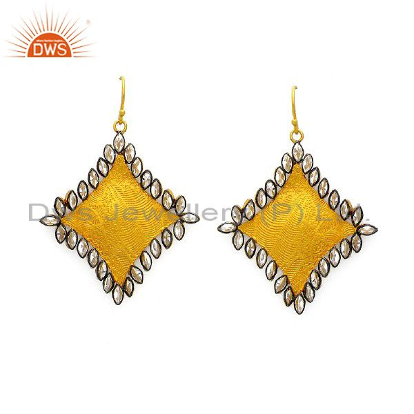 22K Yellow Gold Plated Brass Cubic Zirconia Womens Fashion Dangle Earrings