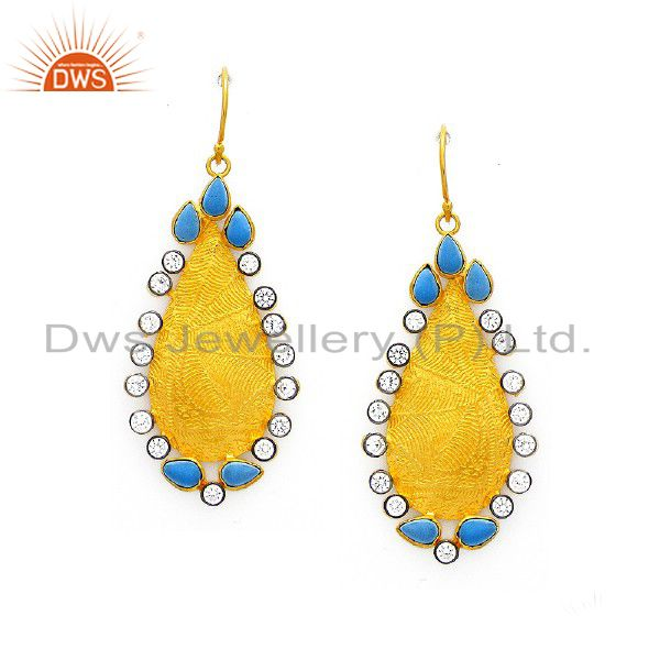 22K Yellow Gold Plated Sterling Silver Turquoise And CZ Dangle Earrings