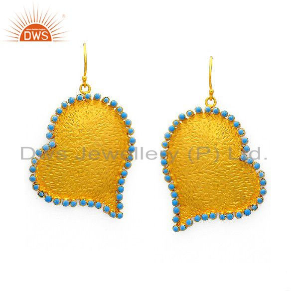18K Yellow Gold Plated Sterling Silver Turquoise Textured Heart Dangle Earrings