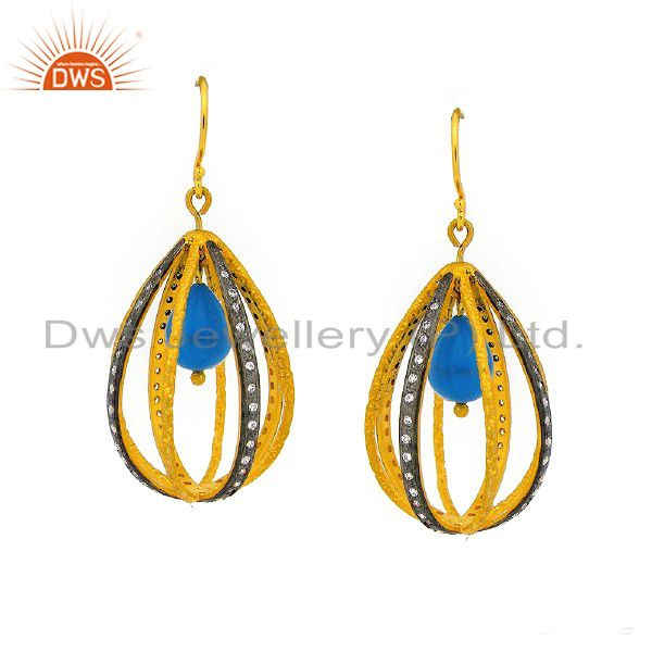 24K Yellow Gold Plated Sterling Silver Turquoise And CZ Designer Drop Earrings