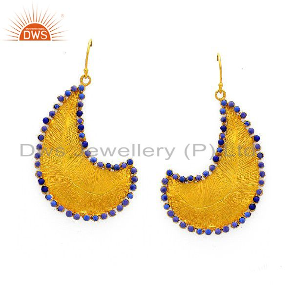 24K Yellow Gold Plated Sterling Silver Lapis Lazuli Designer Teardrop Earrings