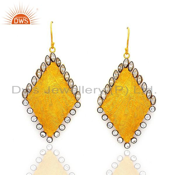 24K Yellow Gold Plated Brass Cubic Zirconia Textured Designer Earrings
