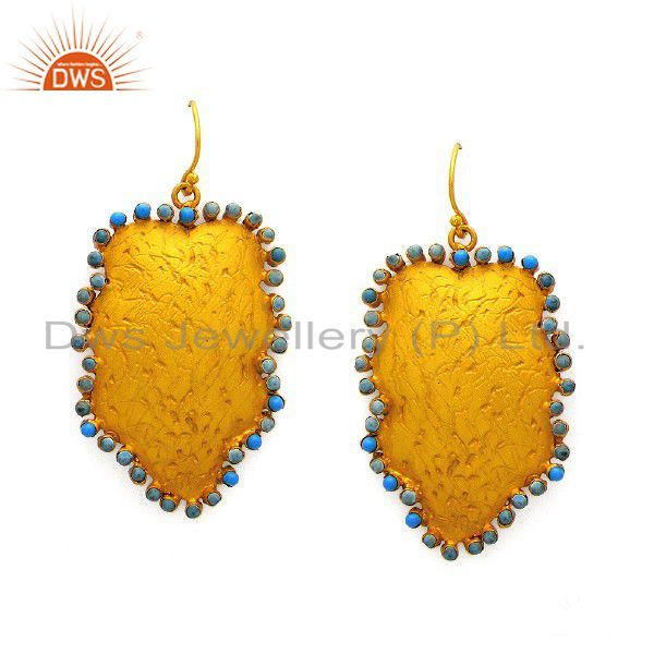 24K Gold Plated Sterling Silver Turquoise Textured Designer Dangle Earrings