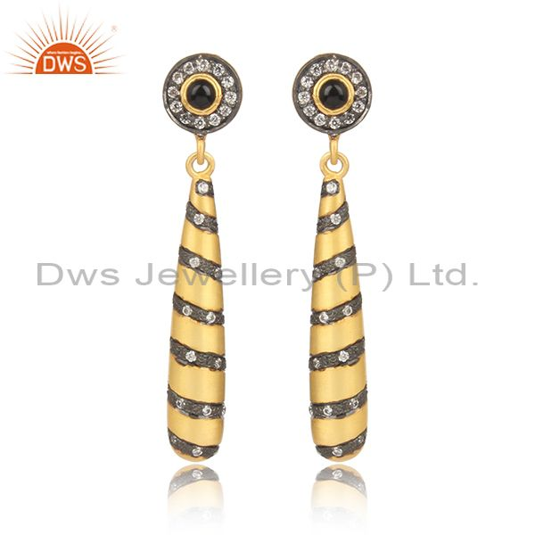 Cz and black onyx gold on 925 silver designer drop earrings