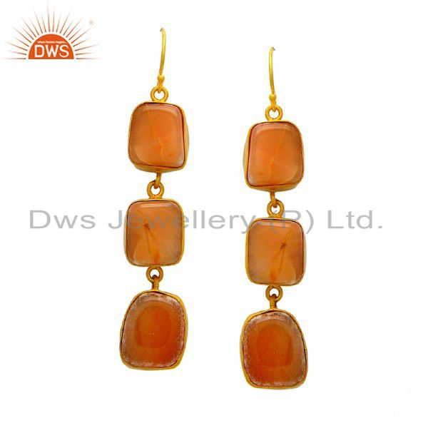 Handmade Sterling Silver Red Jasper Gemstone Dangle Earrings With Gold Plated