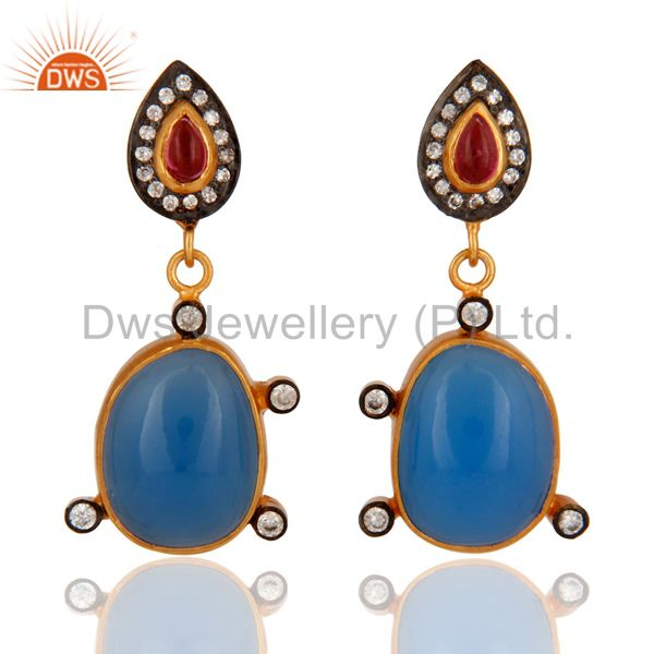 Handmade Gold Plated 925 Silver Blue Chalcedony & Tourmaline Earring With CZ