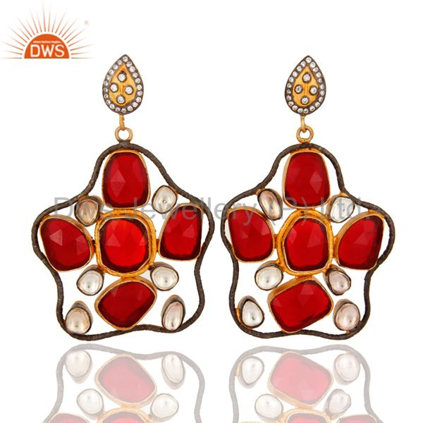 Handcrafted Sterling Silver Red Glass & Crystal Gold Plated Designer Earring