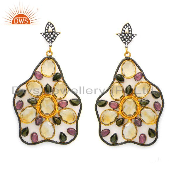 18K Gold Plated Sterling Silver Citrine And Tourmaline Designer Dangle Earrings