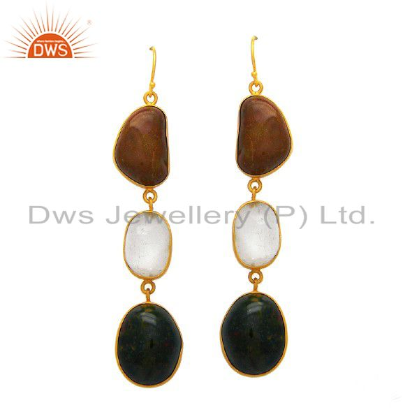 Handmade Sterling Silver Agate Gemstone Dangle Earrings With Gold Plated