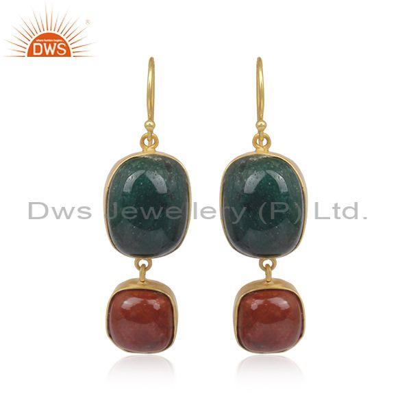 Green jade and red jasper set gold on 925 silver earrings