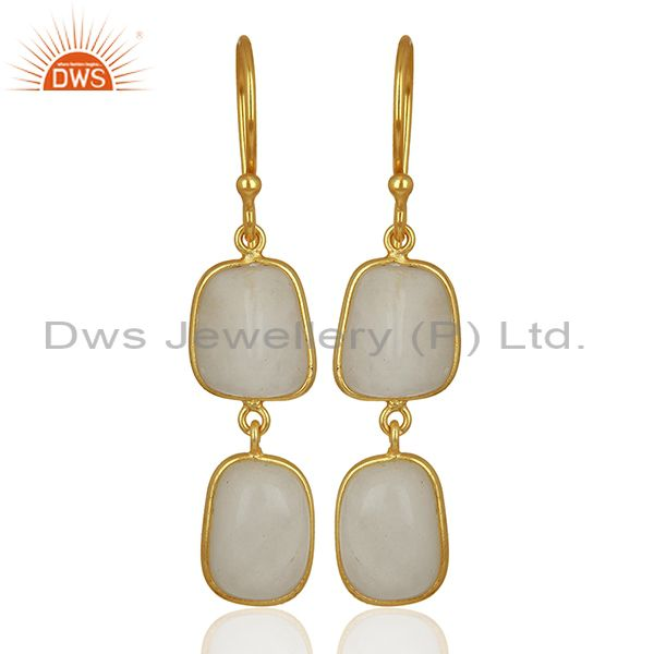 22K Yellow Gold Plated Brass White Agate Bezel Set Gemstone Dangle Earrings