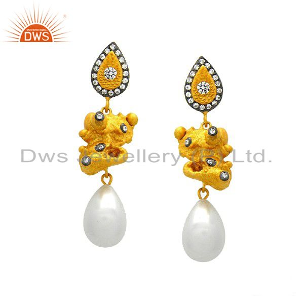 24K Yellow Gold Plated Sterling Silver Pearl And Cubic Zirconia Dangle Earrings