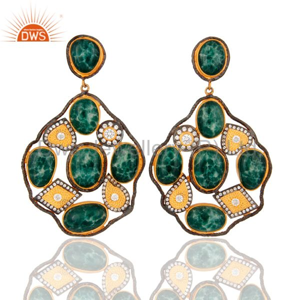 Handmade Dyed Emerald Gemstone Sterling Silver Gold Plated Designer Look Earring