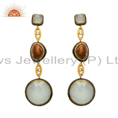 22K Yellow Gold Plated Sterling Silver Aqua Glass Gemstone And CZ Dangle Earring