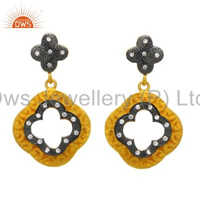 18K Yellow Gold Plated Sterling Silver White Cubic Zirconia Designer Earrings