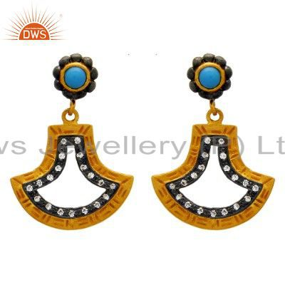 18K Yellow Gold Plated Sterling Silver Turquoise And CZ Dangle Earrings
