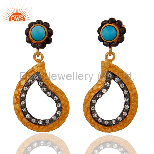 925 Sterling Silver Turquoise Drop Earrings With Gold Plated Zircon Jewelry