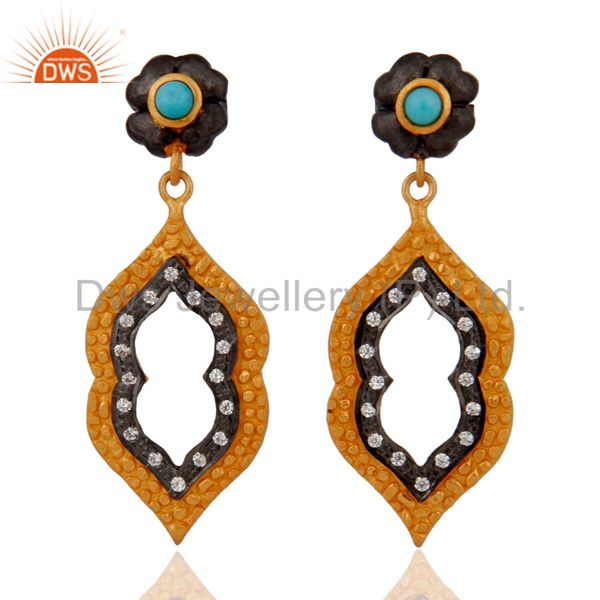 Sterling Silver Cubic Zirconia Earrings- Gold plated Turquoise Jewelry