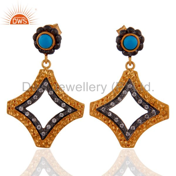 Cubic Zircon 925 Sterling Silver Turquoise Earrings 18k Gold Plated Jewellery