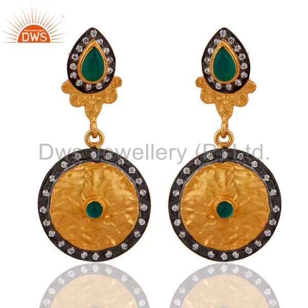 Designer Inspired 925 Sterling Silver Gold Plated Green Onyx CZ Drop Earrings