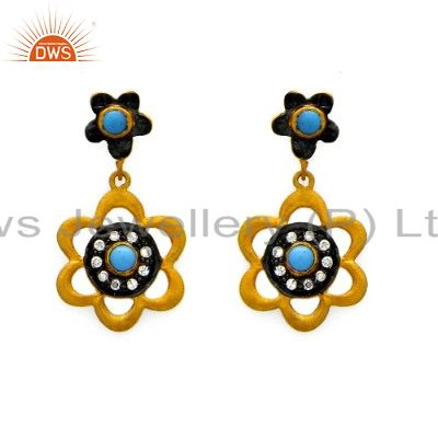 22K Yellow Gold Plated Sterling Silver Turquoise And CZ Flower Dangle Earrings