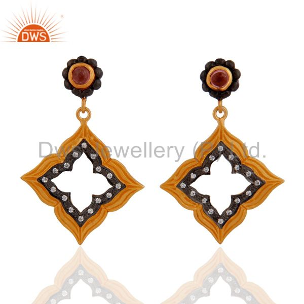 18k Gold Plated Over Sterling Silver Tourmaline Gemstone CZ New Fashion Earrings