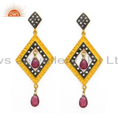 Handmade Pink Tourmaline And CZ Earrings Made In 18K Gold Over Sterling Silver