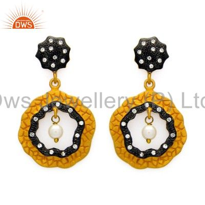 18K Yellow Gold Plated Sterling Silver Pearl And Cubic Zirconia Designer Earring