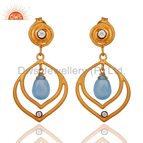 Handmade Unique Chalcedony & Cubic Zirconia Gold Plated over 925 Silver Earrings