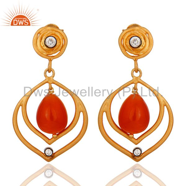 925 Sterling Silver Natural Peach 18kt Gold Plated Gemstone Earrings With CZ