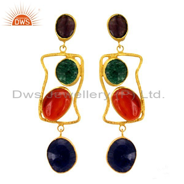 18K Gold Over Silver Amethyst, Carnelian And Green Aventurine Dangle Earrings