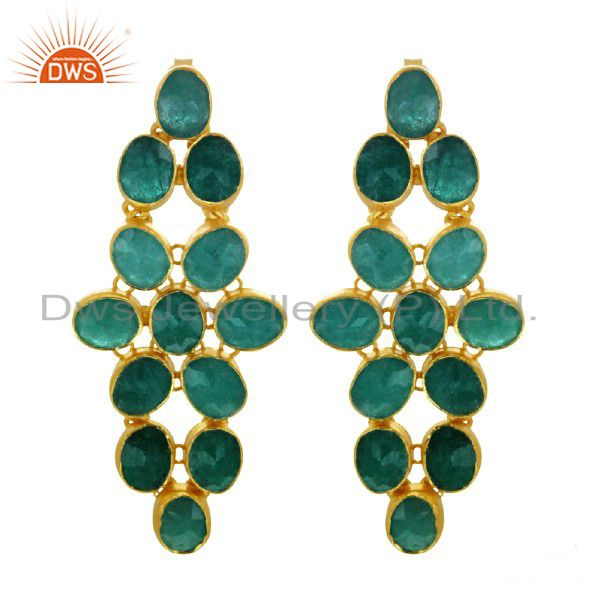 Handmade Sterling Silver Dyed Emerald Dangle Earrings With 18K Gold Plated