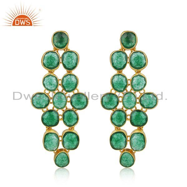 Handmade Green Aventurine 22K Gold Plated Sterling Silver Dangle Earrings