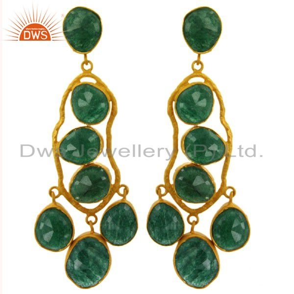 Handmade Sterling Silver Green Aventurine Gemstone Earrings With 22K Gold Plated