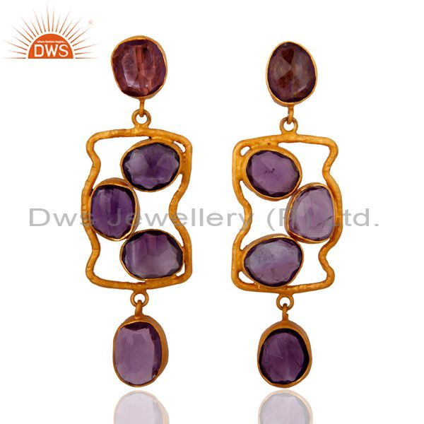 Handmade 925 Sterling Silver Amethyst Gemstone Earrings With 18K Gold Plated