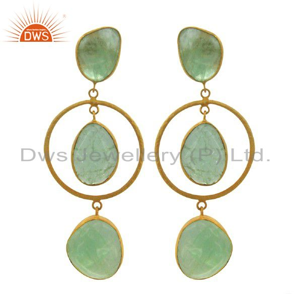 Handmade Sterling Silver Fluorite Dangle Earrings With 18K Yellow Gold Plated