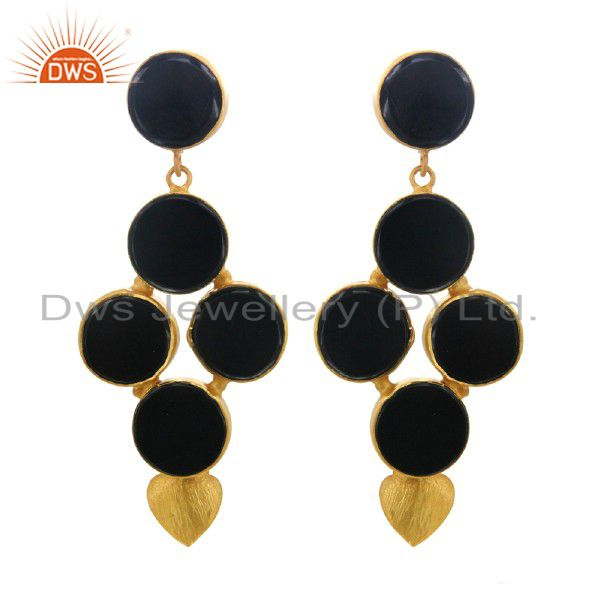 Handmade Sterling Silver Black Onyx Gemstone Earrings With 22K Gold Plated