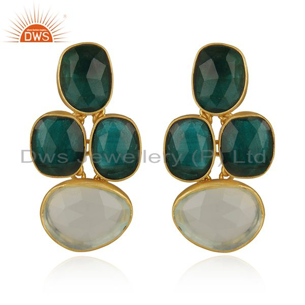 Handmade Chrysoprase And Aqua Chalcedony 18K Gold Plated Silver Earrings