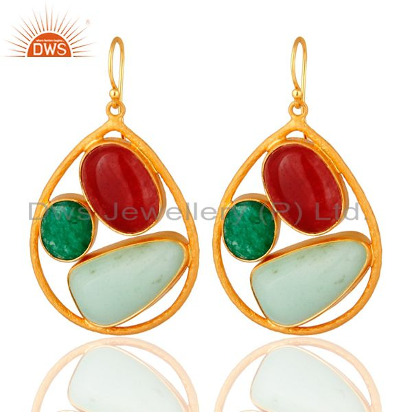 Handmade Red Aventurine And Chrysoprase Sterling Silver Earrings - Gold Plated