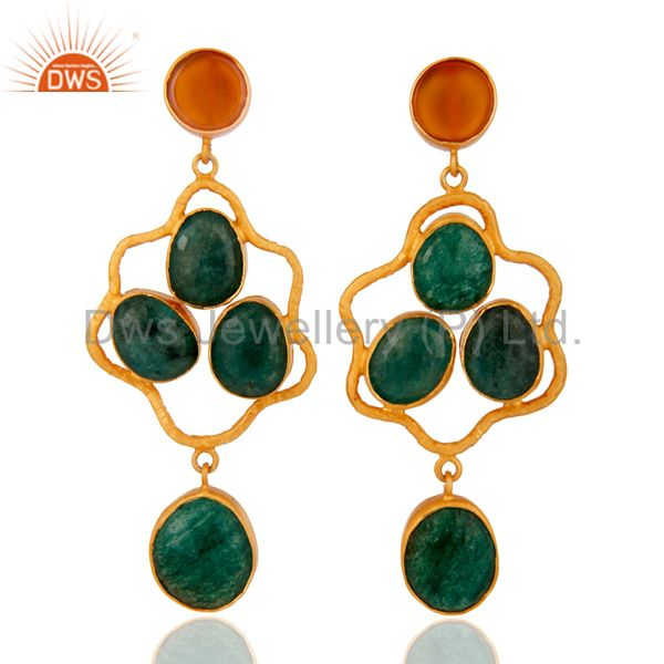 Handcrafted 925 sterling Silver Dyed Emerald Gemstone Earring -24K Gold Plated