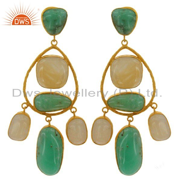 Handmade Green Aventurine And Chrysoprase Earrings In Gold Plated Sterling Silve