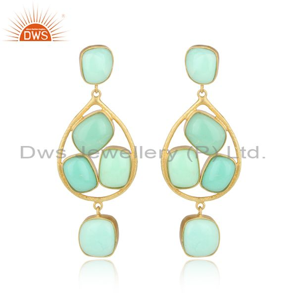 Unique Handmade Aventurine Chrysoprase 18k Gold Over 925 Sterling Silver Earring