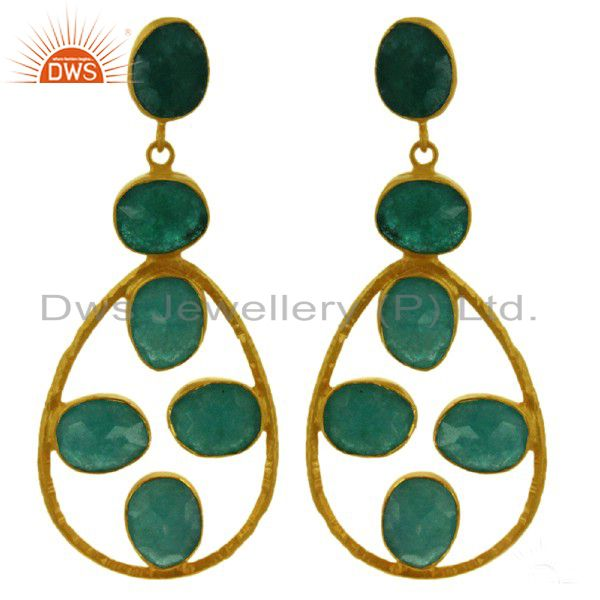 Handmade Dyed Emerald Dangle Earrings Made In 18K Gold Over Sterling Silver