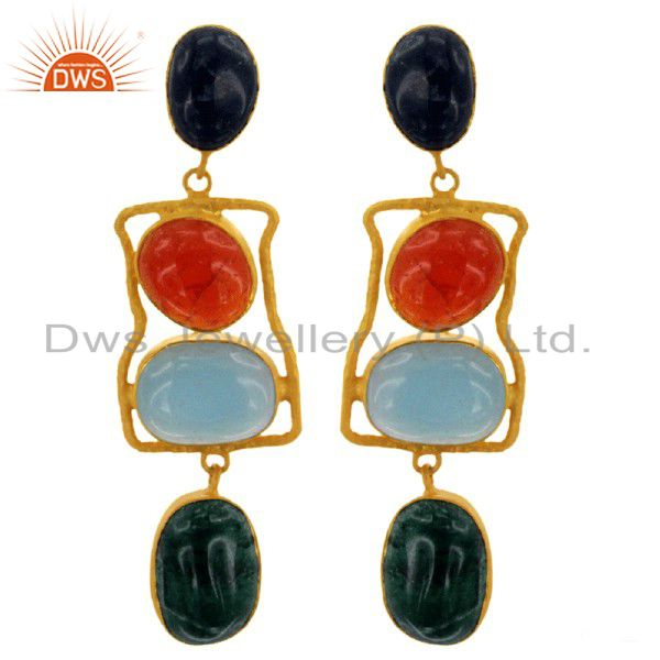 Handmade Multi Colored Semi Precious Stone Earrings In 18K Gold Over Silver