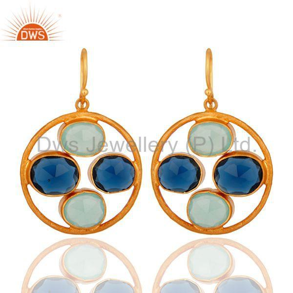 18K Gold Plated Sterling Silver Aqua Glass & Blue Corundum Gemstone Earrings