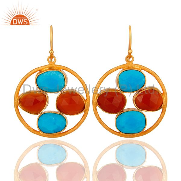 18K Gold Over Sterling Silver Handmade Turquoise & Carnelian Gemstone Earrings