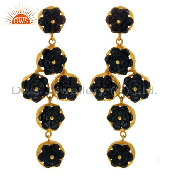 Black Onyx Gemstone Carved Dangle Earrings 18K Gold Over Sterling Silver Jewelry