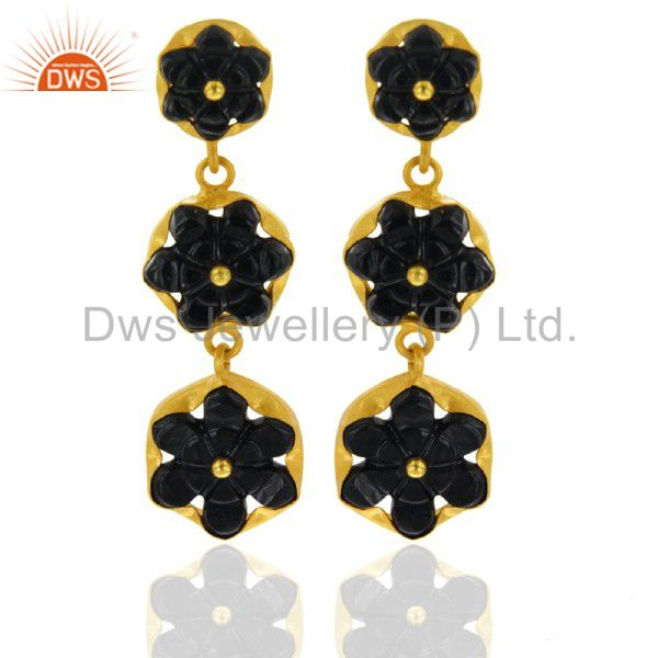 Designer Sterling Silver Gold Plated Hand Carved Semi Precious Stone Black Onyx