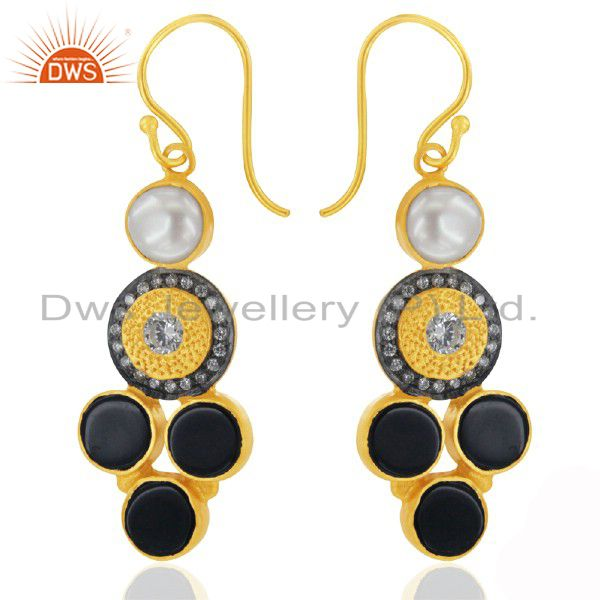 18K Gold over 925 Silver Pearl Handcrafted Hook Earrings Onyx CZ Jewelry