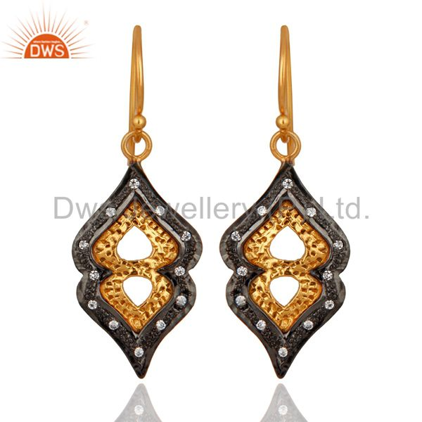 Handmade Gold Plated 925 Sterling Silver & Cubic Zirconia Designer Earring